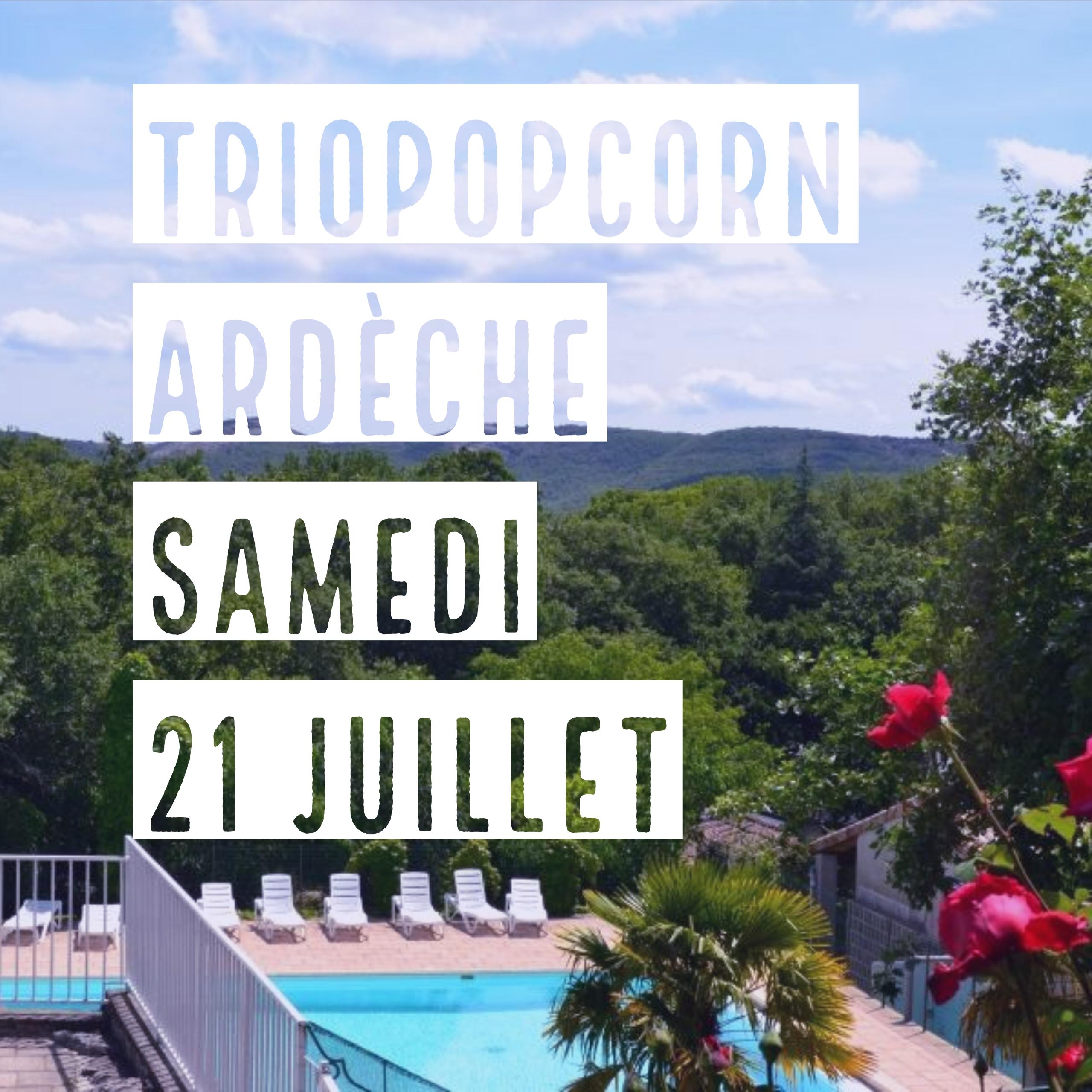 concert triopopcorn au camping les roches en Ardèche