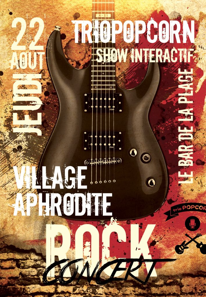 concert rock du groupe pop rock triopopcorn au village naturiste Aphrodite à Leucate