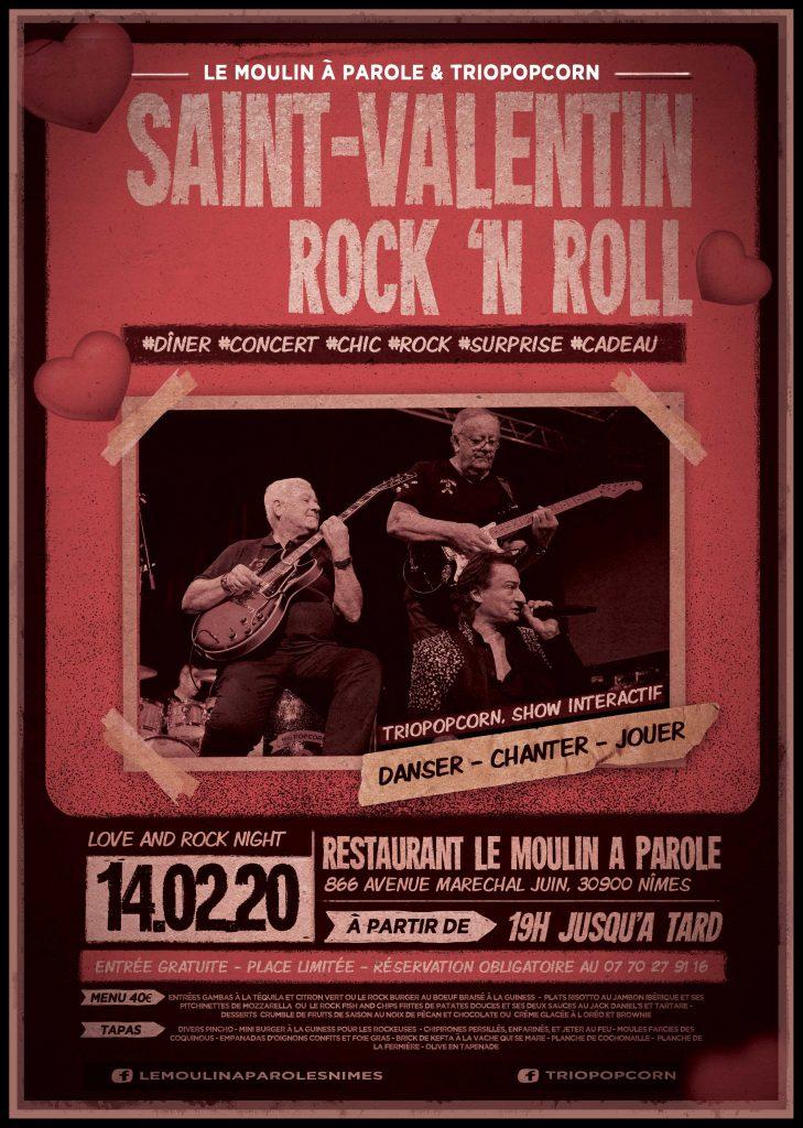 Dîner concert rock 'n' roll au restaurant le moulin à parole pour la saint-valentin